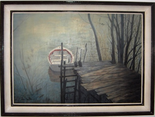 Jean HELLEU - Painting - La barque blanche