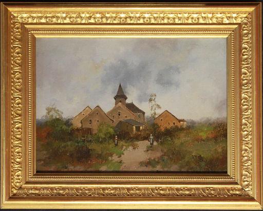 Eugène GALIEN-LALOUE - Painting - BARBIZON - Dorfansicht mit Kirche