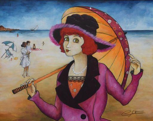 Véronique CLANET - Painting - Promenade sur la Plage