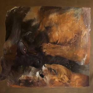 Hélène LEGRAND - Gemälde - La chasse au buffle