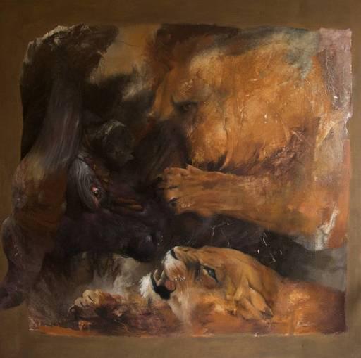 Hélène LEGRAND - Painting - La chasse au buffle