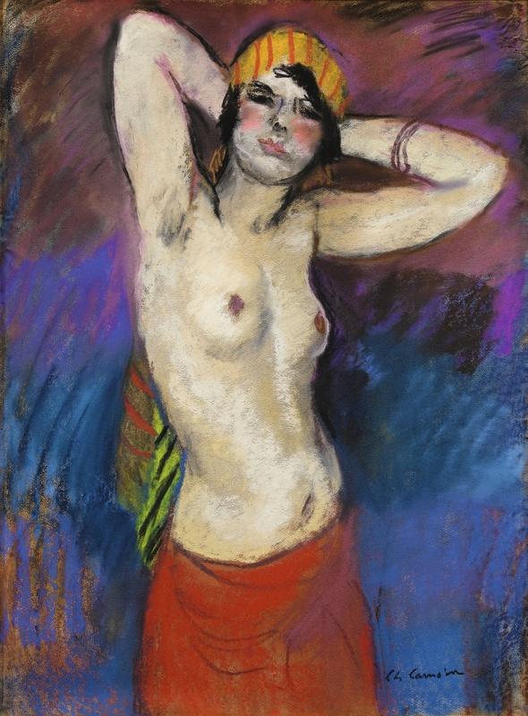 Charles CAMOIN - Dibujo Acuarela - Buste de femme nue au turban jaune rayé rouge