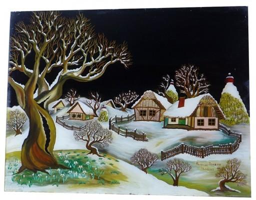 Tereza DOLENEC - Peinture - Winterlandschaft , Hinterglasmalerei, Naive Kunst