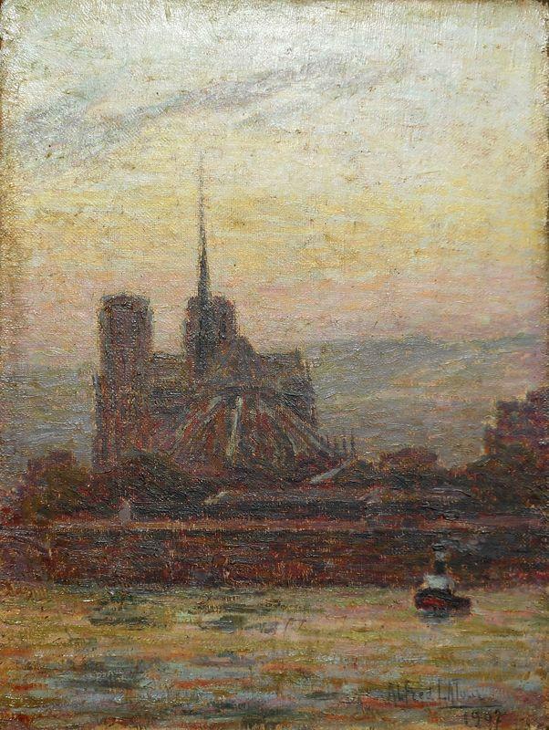Alfred LATOUR - Pintura - ROUEN -la SEINE - la CATHEDRALE