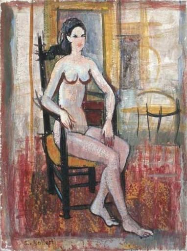 César BOLLETTI - Peinture - Danseuse assise