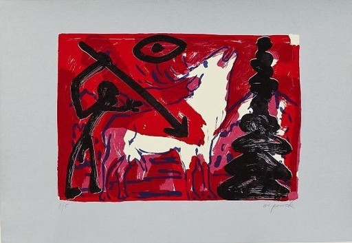 A.R. PENCK - Estampe-Multiple - Kleiner Hirsch VI (Little stag)