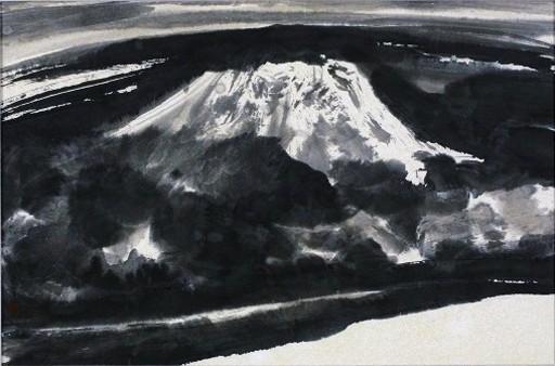 """李庚 - 水彩作品 - """"Nuages sur le Mont Fuji (Japon)"""""""