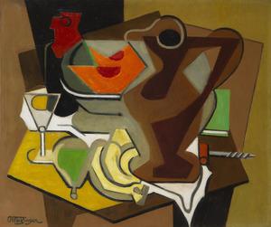 Jean METZINGER - Peinture - Pichet, fruits et tire-bouchon