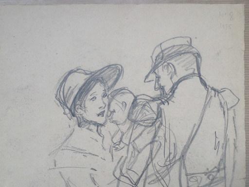 Théophile Alexandre STEINLEN - Dessin-Aquarelle - Guerre 1914-1918, Militaire Causant Avec Femme  & Son Enfant