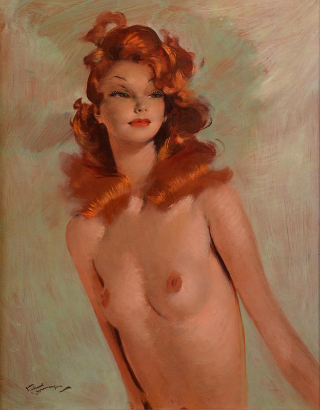 "Jean Gabriel DOMERGUE - Painting - ""Rita Hayworth en buste """
