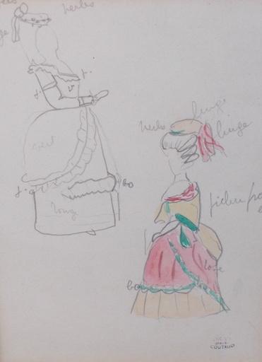 Lucien COUTAUD - Disegno Acquarello - Dessin de mode