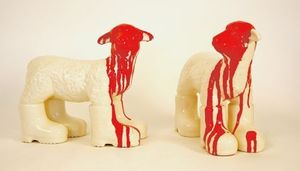 William SWEETLOVE - Sculpture-Volume - cloned white porcelain lamb with red head