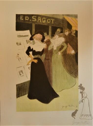 Georges Alfred BOTTINI - Estampe-Multiple - Devant la vitrine Sagot ou chez le marchand d'estampes