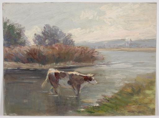 "Robert HEINRICH - Dessin-Aquarelle - ""Cow Crossing a Stream"" by Robert Heinrich, 1939"
