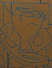 Alfredo ALCAIN - Painting - Bodegón ocre y azul