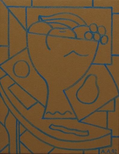 Alfredo ALCAIN - Pintura - Bodegón ocre y azul