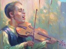 Leopold PILICHOWSKI - Painting - kleiner jüdischer Geiger, small Jewish violinist