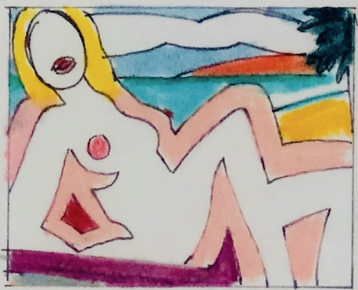 Tom WESSELMANN - Pintura - Study for Seated Sunset Nude (2)