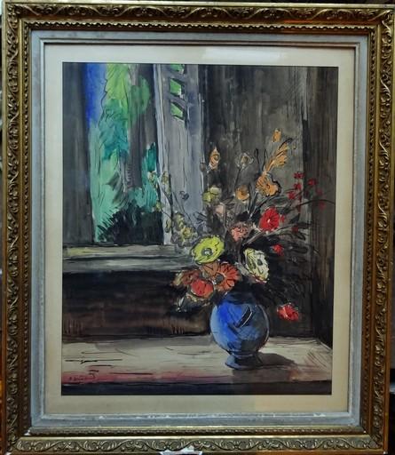 Anders OSTERLIND - Dibujo Acuarela - Bouquet devant une fenêtre circa 1945