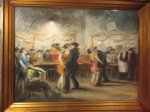 Edouard FEBVRE - Dibujo Acuarela - Bal à Montmartre