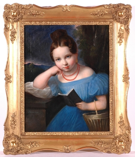 "Friedrich SCHILCHER - Painting - ""Biedermeier Girl"", 1833, Oil Painting"
