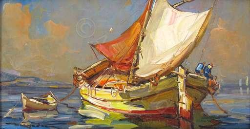 Elie BERNADAC - 绘画 - St. Tropez - La Tartane au Soleil