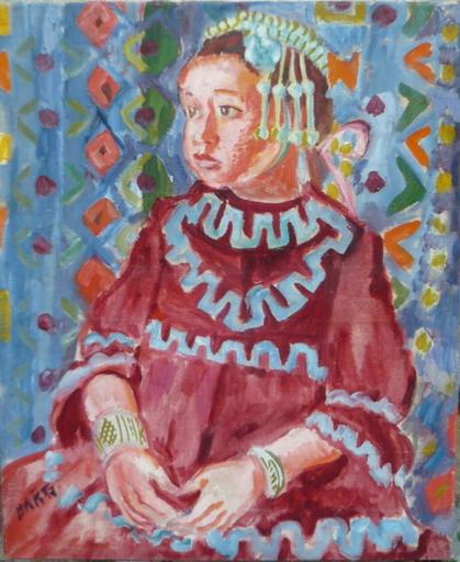 Laszlo BARTA - Gemälde - jeune fille aux bijoux traditionnels
