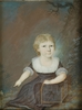 "Zeichnung Aquarell - ""Little girl"" portrait miniature, ca. 1800"