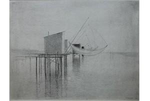 Gunnar NORRMAN - Dessin-Aquarelle - Bootssteg in Frankreich