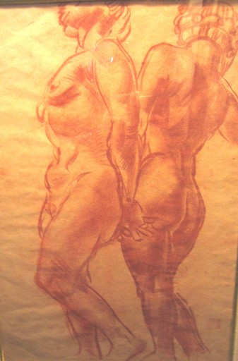 Alexander Evgenevich IACOVLEFF - Drawing-Watercolor - Two nudes standing