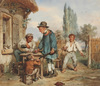 """Emmanuel Adolphe MIDY - Drawing-Watercolor - """"Important visit"""", watercolor, 1830/40s"""
