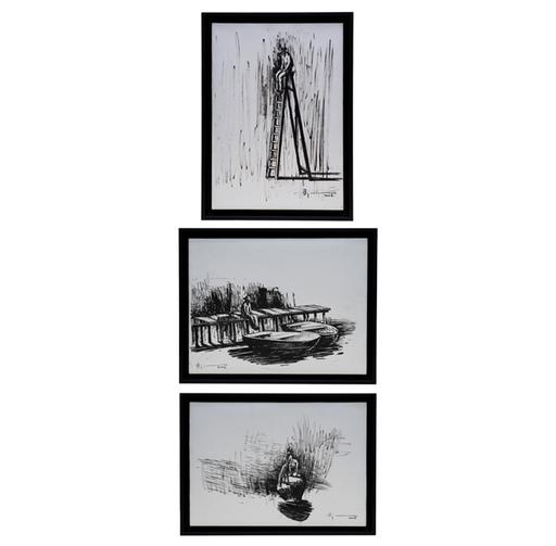 Agustin BEJARANO - Dessin-Aquarelle -  Triptych - Serie: Ritos del Silencio