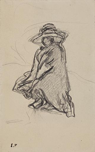 Édouard VUILLARD - Drawing-Watercolor - Lucie Hessel à Amfréville - étude pour VIII-226.2