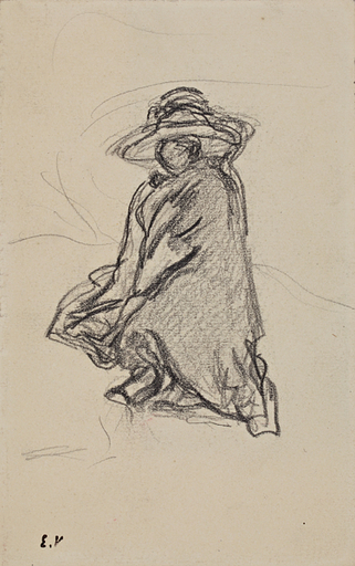 Édouard VUILLARD - Dibujo Acuarela - Lucie Hessel à Amfréville - étude pour VIII-226.2