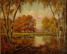 """Adrien SCHULZ - Pintura - """"LA MARE AUX FEES (FONTAINEBLEAU)"""" 1915"""
