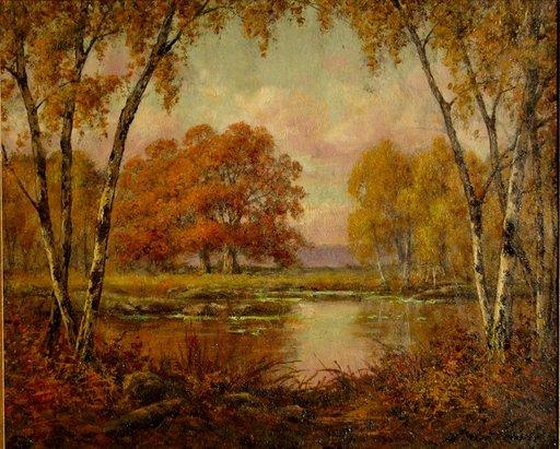 """Adrien SCHULZ - Peinture - """"LA MARE AUX FEES (FONTAINEBLEAU)"""" 1915"""