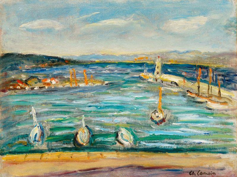 Charles CAMOIN - Pittura - L'entrée du port de Saint-Tropez