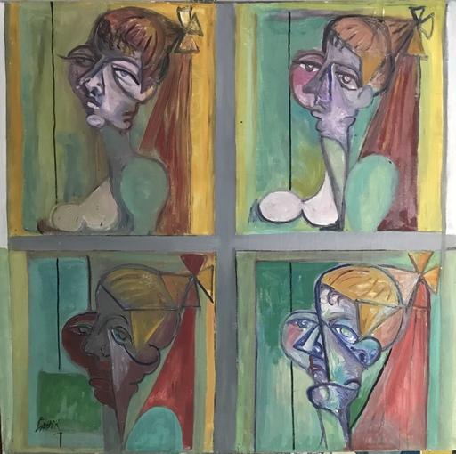 Robert LABOR - Peinture -  Quatre têtes portraits