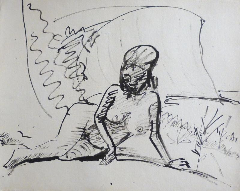 Erich HECKEL - Zeichnung Aquarell - Am Strand Liegende