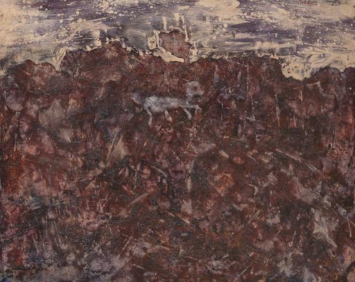 Jean DUBUFFET - Gemälde - Paysage au chien bleu