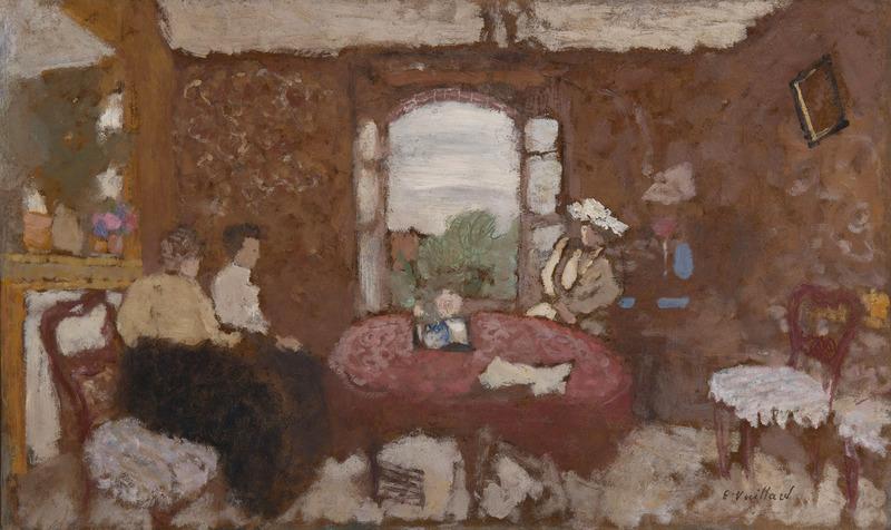 Édouard VUILLARD - Peinture - Lucy Hessel en visite chez les Roussel à Cricqueboeuf