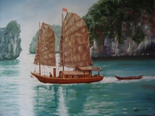 Fabienne DELORD-DESCOURVIERES - Peinture - Baie d'Halong
