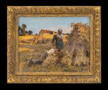 Léon Augustin LHERMITTE - Drawing-Watercolor - Repos, Effet de Grand Soleil, Moisonneur Endormi, Mezy