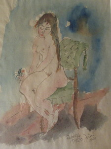 Joachim RAGOCZY - Dibujo Acuarela - Jeune fille à la rose