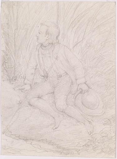 """Disegno Acquarello - """"Resting Boy"""", Drawing, 19th Century"""