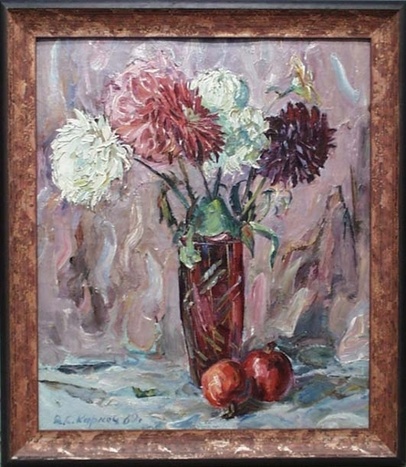 "Vassili KARKOTS - Painting - ""Flower Still Life"", Oil Painting by Vasili Karkots"