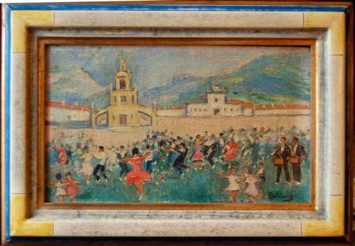 Robert-Adrien DELÉTANG - Painting - Fête de village au pays Basque