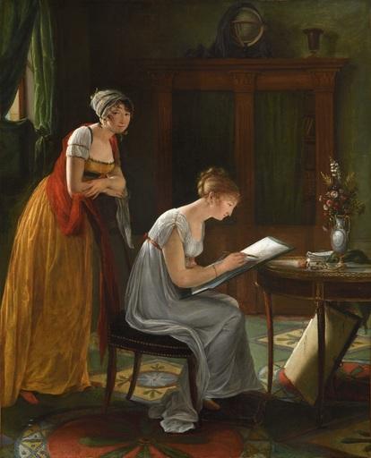 Louise Adéone JOUBERT-DROLING - Gemälde - Autoportrait présumé de l'artiste donnant un cours de dessin