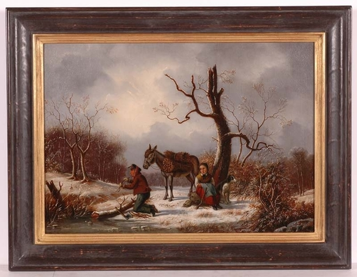 "Jacob MUNK - Pittura - ""Collecting Brushwood"", Oil Painting, 1858"