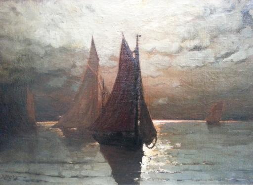 Albert MATIGNON - Pintura - Marine au crépuscule -